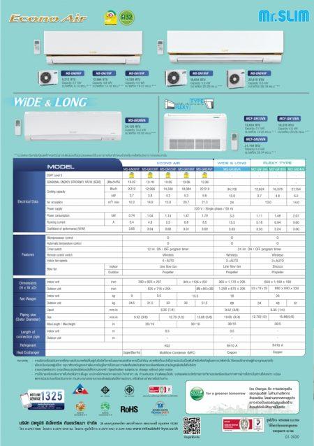 แอร์มิตซูบิชิ อิเล็คทริค econo MS-GN09VF 9,212 BTU