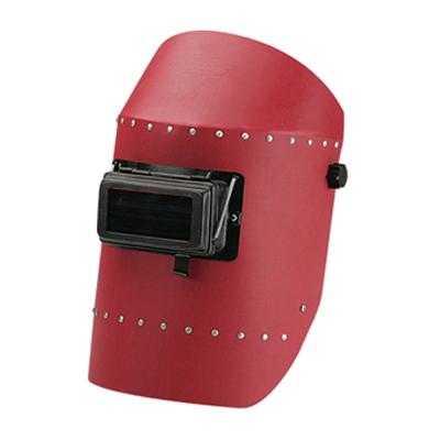 หน้ากากเชื่อมสวมหัว สีแดง พร้อมกระจก
